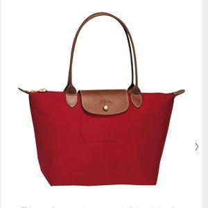 Red long champ top handle bag